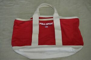 Vintage Ralph Lauren Polo Sport Canvas Tote Bag Red and White 23 inches wide