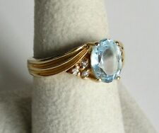 Aquamarine and Diamonds in 14K Yellow Gold Ring - Size 7.75