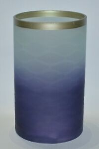 YANKEE CANDLE OMBRE BLUE WAVES TWILIGHT DUST GOLD GLASS JAR CANDLE HOLDER LARGE