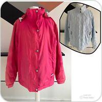 JOULES 2 In 1 Jacket Size UK 14 PINK BLUE   Womens Winter Warm Rain Hooded