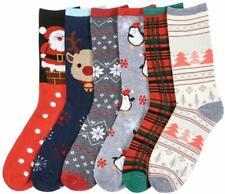 Women's 6 Pair Christmas Socks, Crew Socks, Great X-Mas Gift for Holiday