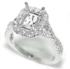 Beautiful 0.56 Ct Diamond Halo Semi Mount Setting for Emerald Cut 14K White Gold