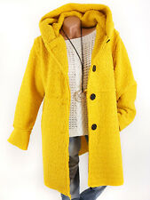 Jacke Damen Mantel Gelb Boucle Oversize Kapuze Vintage Look 38 40 42 44 Italy