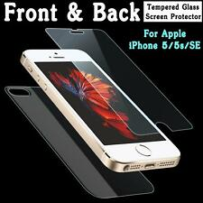 New Tempered Glass Front Back Screen Protector Film for Apple IPhone 5 5S 5C SE