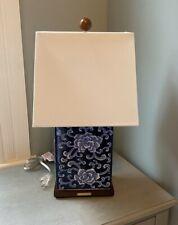 "Ralph Lauren Floral Cobalt Blue White Asian Porcelain 17"" Table Lamp & Shade New"