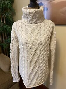 Aran Crafts Ivory Merino Wool Cable Knit Fisherman Turtleneck Sweater Large