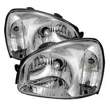 Fit Hyundai 03-06 Santa Fe Chrome Housing Replacement Headlights Lamp Pair
