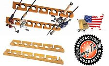 Fishing Rod Rack Ceiling Mount Pole Reel Holder Wall Storage Wood Cabin Garage