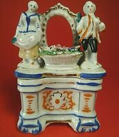 "ANTIQUE VICTORIAN FAIRING TRINKET BOX MAN & WOMAN FIGURAL 3 1/3""H FLOWERS 1800'S"