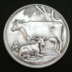Large 1903 Sterling Silver Agricultural Medal British Dairy Farmers Association