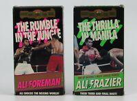 Muhammad Ali Foreman Frazier The THRILLA IN MANILA & RUMBLE JUNGLE VHS Lot of 2