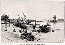 REGGIO CALABRIA,STRETTO DI MESSINA,SICILIA,ETNA.Grande Veduta.Stampa Antica.1880