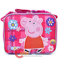 Peppa Pig School Lunch Bag Insulated Snack Bag Tote Pink Checker Flowers