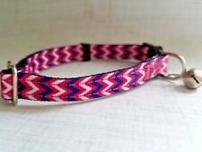 Pink Chevron Zig Zag Breakaway Safety Kitty Cat Collar with removable bell!