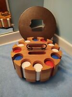 """Vintage Round 9.5"""" Wood Spinning Poker Caddy Set  300 poker chips heavy"""