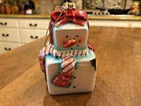Vintage Large Blown Glass Christmas Ornament Colorful Snowman Excellent