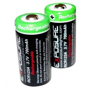 Exposure Lights Rechargeable RCR123A Lithium-ion Batteries (2) for Flash/Flare