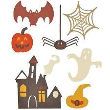 7x Die Cut Sizzix Halloween shapes SPOOKY BAT PUMPKIN SPIDER WEB GHOST HOUSE etc
