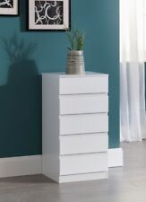 White Chest of Drawers Narrow Compact Tallboy Bedside Cabinet Integrated Handle