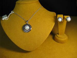 HONORA PEARL SET NECKLACE EARRINGS STRAND STRING WHITE STUDS PENDANT BRIDAL Gift
