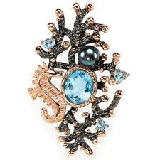 Großer Anhänger Seepferdchen Blautopas Swiss Blue Perle 925 Silber 585 Roségold
