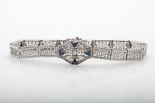 Antique 1920s 1ct Trillion Cut Blue Sapphire Diamond 14k Gold Filigree Bracelet