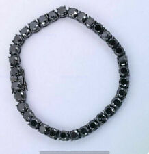 7.50Ct Round Cut Black Diamond Men's Tennis Bracelet 14k Black Gold Over Jewelry
