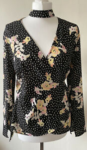 Topshop Black Floral Spots Wrap Top With Choker Collar Size 14