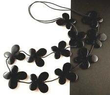 1 Black Hand Carved & Wood Painted Butterflys Dangle Necklace - # B43