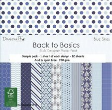 DOVECRAFT BACK TO BASICS PAPERS - 6 X 6 SAMPLE PACK  - 12 SHEETS - BLUE SKIES