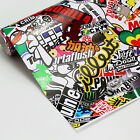 "60""x20"" Panda Cartoon Car JDM STICKER BOMB Graffiti Wrap SHEET DECAL"