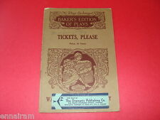 Baker's Plays Tickets Please 1916 by Irving Dale Theater Script