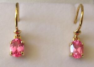 8x6mm GENUINE 9K 9ct SOLID GOLD OCTOBER BIRTHSTONE TOURMALINE EARRINGS