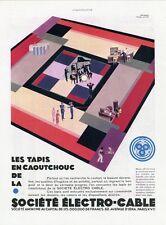 """""""TAPIS CAOUTCHOUC ELECTRO-CABLE"""" Annonce originale entoilée années 30 32x41cm"""