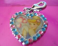 Cinderella Jeweled Heart Charm with Claw Hook