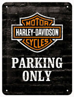 A5 Retro Tin Embossed Sign HARLEY DAVIDSON MOTORCYCLES - PARKING ONLY Licensed