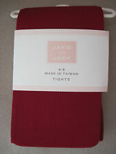 Nwt Janie and Jack Red Microfiber Tights/Stockings Size 2T 3 4 5 6 7 8 10 11 12