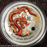2012-P Australia Year Of The Dragon Colured Red & Yellow