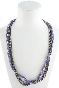 Venessa Arizaga Rhinestone Purple String Multi-Strand Necklace $255 New 76554