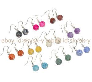 10 Colors 6/8/10mm Matte Dream Fire Veins Agate Dangle Silver Hook Earrings