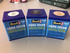 Revell AQUA COLOUR ACRYLIC PAINT 18ml X 3 pots white black gold