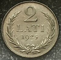 1925 LATVIA  🇱🇻 Silver 2 Lati Coin, only two year mint, flat rate shipping.