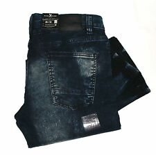 New $80 MARC ECKO Mens 36X32 Distressed Slim-Straight Jeans Mid-Rise Denim Pants
