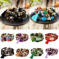 Boho Multi-layer Natural Stone Beads Tassel Women Bracelet Wristband Bangle Gift