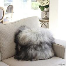GENUINE ICELANDIC LONG HAIR SHAGGY SHEEPSKIN PILLOW CUSHION 40cm NATURAL GREY