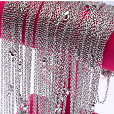 10 Pieces/Lot Women's New Silver Plated Making DIY Hard Link Chain Necklaces22''