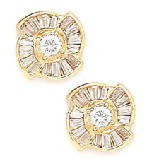 14K Solid Yellow Gold 10MM Cubic Zircon Flower Stud Earrings Puch Back ER-PE34