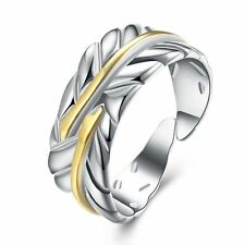 925 Silver Plt & Gold Adjustable Leaf / Feather Ring Olive Leaves Thumb Ivy  B
