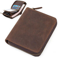 Men's Genuine Cow Leather Wallet Small Zip Around Coin Card Holder Black Coffee