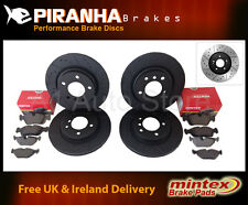 BMW Cabrio E93 335i 07-14 Front Rear Brake Discs Black Dimpled Grooved & Pads